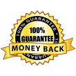 Money back 100% guarantee. Golden label. — Vector de stock