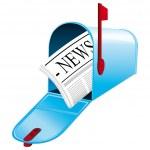 schöne blau Metallic geöffnet Postfach. Vektor-Symbol. Tägliche Nachrichten-Konzept — Stockvektor