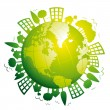 Green planet earth. Ecological concept. Vector icon. — Stock Vector