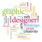 Graphic designer. Print concept word cloud. — Stockvektor