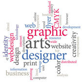 Graphic designer. Trendy print concept word cloud. — Stockvektor