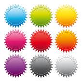 Adesivi promozionali. collezione colorata vettoriale. — Vettoriale Stock