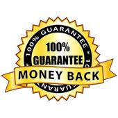 钱回 100%的担保。金色的标签. — 图库矢量图片
