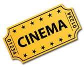 One single cinema ticket. Vector icon. — Vettoriale Stock