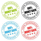 Money back stamps. Vector stamps set. — Stock Vector