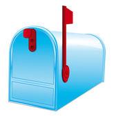 Beautiful blue metallic closed mailbox. Vector icon. — Stock Vector