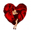 Sexy Young Woman Dancing with Silk Valentine Heart — Stock Photo