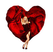 Sexy Young Woman Dancing with Silk Valentine Heart — ストック写真