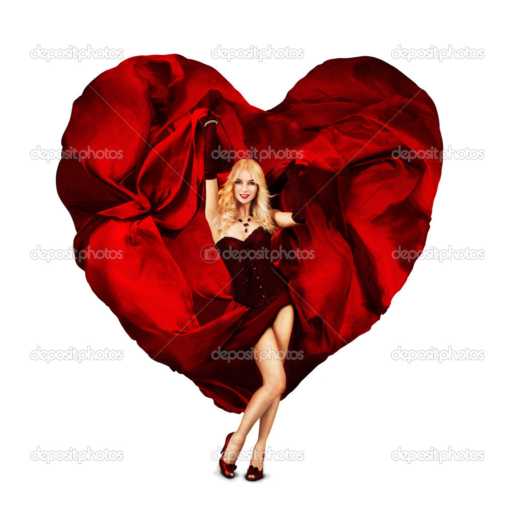 Beautiful Concept Queen of Hearts. Woman With Waving Fabric — Stock Photo #10668293