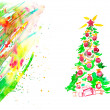 watercolor christmas card — Stock Photo