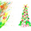 Watercolor Christmas Card — ストック写真