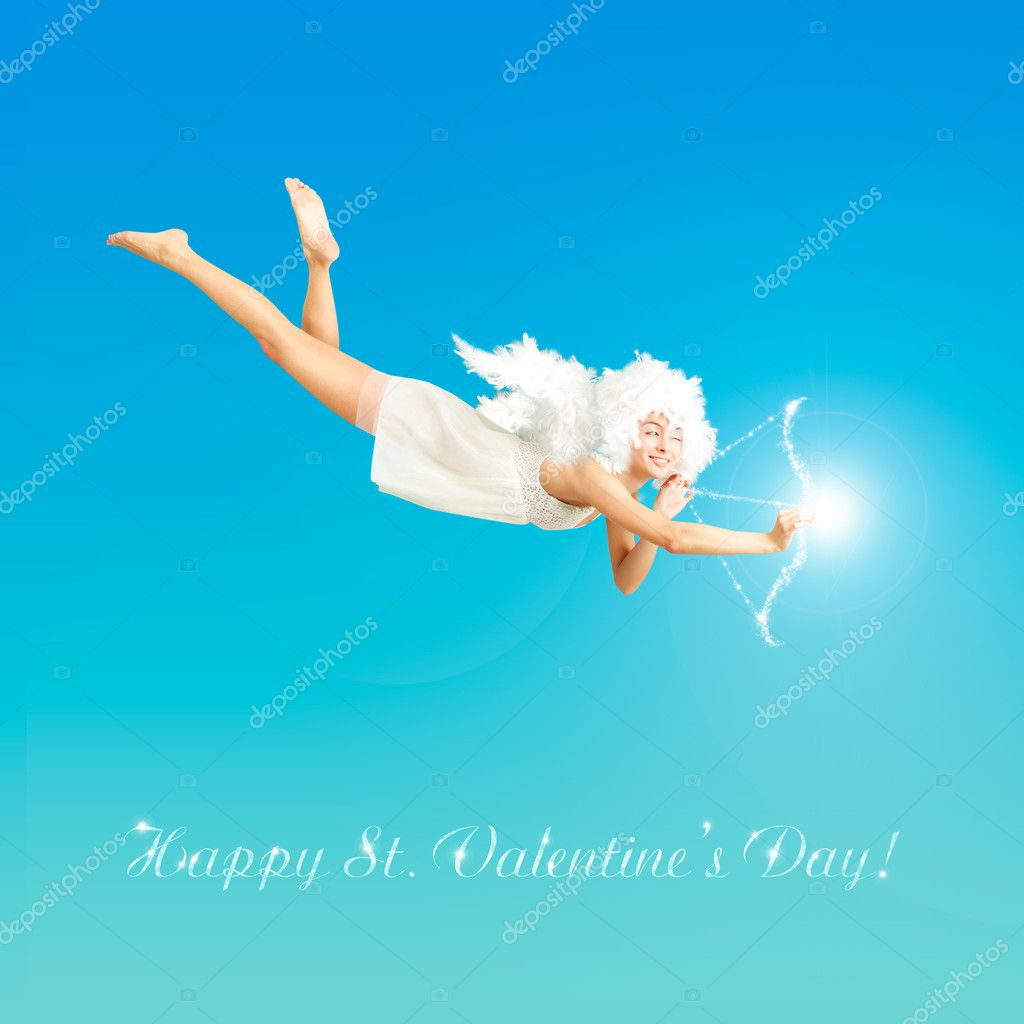 Cute St. Valentine's Day Card Vith Flying Angel  Stock Photo #8120885