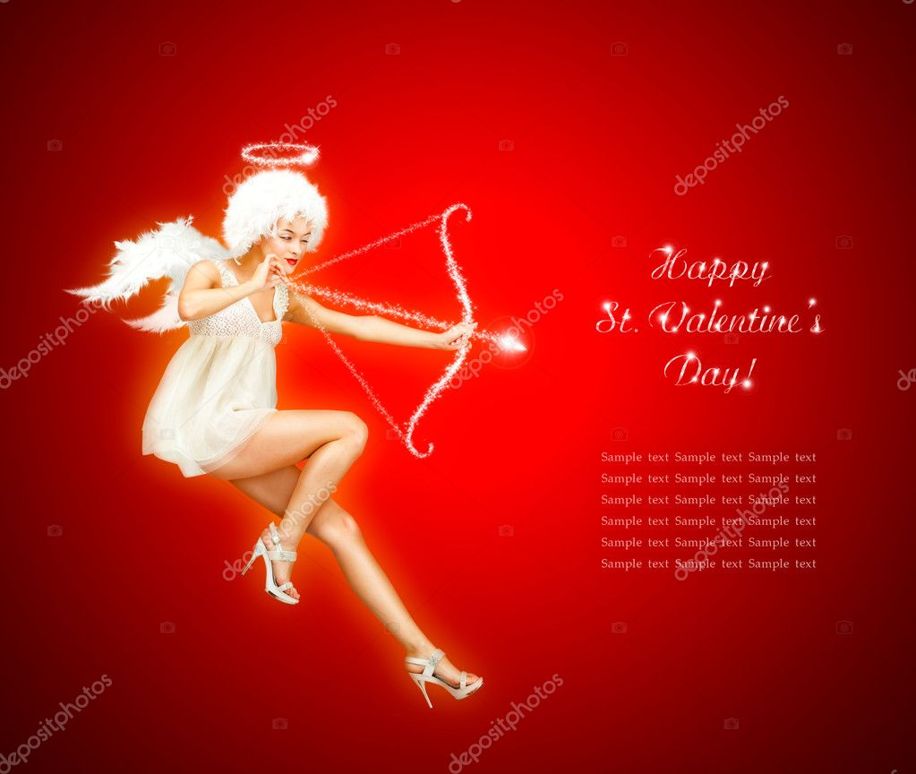 Cute St. Valentine's Day Card Vith Flying Angel — Stock fotografie #8163190