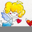 Cute hand-drawn angel with heart in hands — Stock Photo