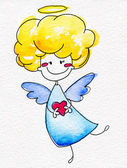 Cute hand-drawn angel with heart in hands — 图库照片