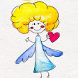 Foto Stock: Cute hand-drawn angel with heart in hands