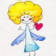 Cute hand-drawn angel with heart in hands — Lizenzfreies Foto