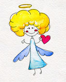 Cute hand-drawn angel with heart in hands — Stock fotografie