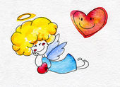 Cute hand-drawn angel with heart in hands — Stockfoto