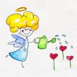 Cute hand-drawn angel watering the flowers — Stock Photo