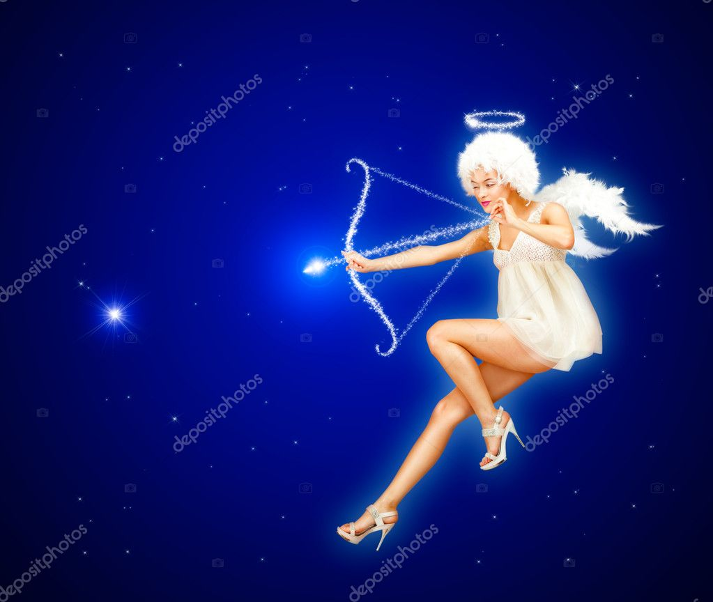 Cute St. Valentine's Day card with Angel flying in the night sky  Stock Photo #8889250