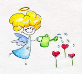 Cute hand-drawn angel watering flowers — Stok fotoğraf