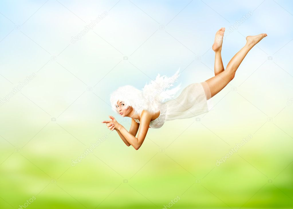 Beautiful collage with young woman in angel costume — Stock Photo #9685844