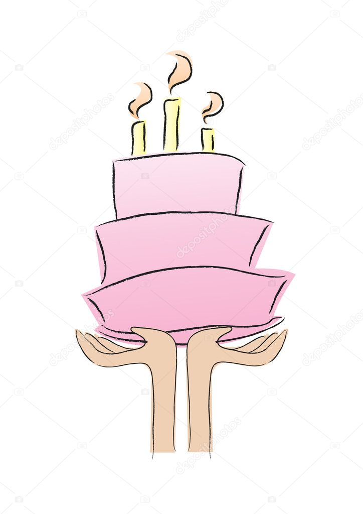 Hands holidng a birthday cake shows happy birthday.  Imagen vectorial #10610450