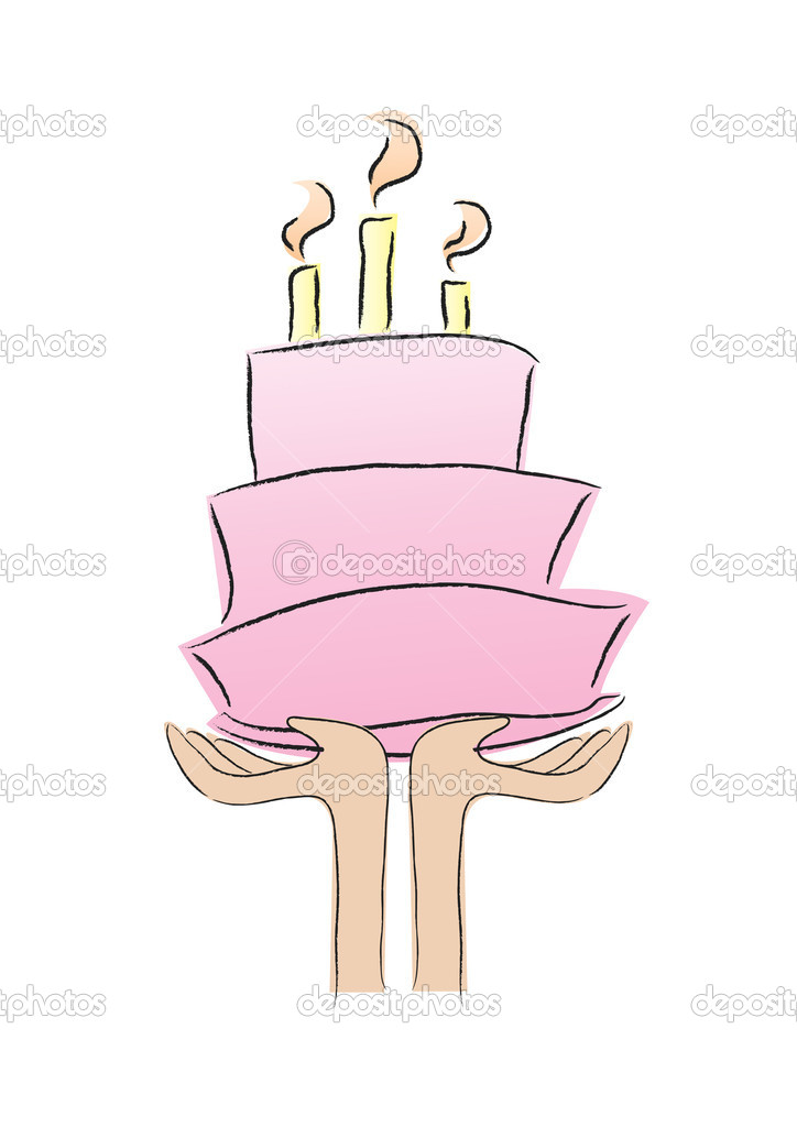 Hands holidng a birthday cake shows happy birthday. — Imagens vectoriais em stock #10610450