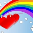 Hearts in the air with a rainbow background - Stock Vector