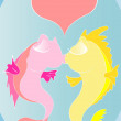 Cartoon kissing fishes — Stock Vector
