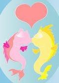 Cartoon kissing fishes — Stock Vector