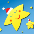 Sleeping stars with Christmas hats - Stock Vector