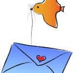 A flying bird carries an envelop — Stock Vector