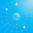 Vector de stock : Globe with airplanes