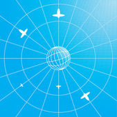 Globe with airplanes — Vector de stock