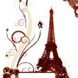 Stock Vector: Grunge background with Eiffel tower