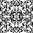 Black floral seamless pattern — Vettoriali Stock