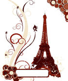 Grunge background with Eiffel tower — Stock Vector