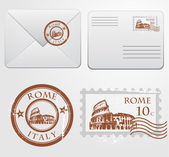 Envelope with Rome stamp — Stock Vector