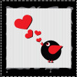 Stock Photo: Bird is singing love song from hearts