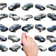 Man is choosing car with marker — Stock Photo #8444812