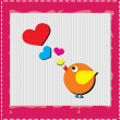 Bird is singing love song from hearts - Stock Photo