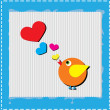 Bird is singing love song from hearts — Stock Photo
