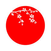 Branch of beautiful cherry blossom in circle — Stock Photo