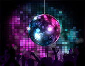 Party Atmosphere with disco globe — Stock Vector