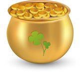 Gold coins pot with clover leaf against white background for St. Patrick's Day. Gradient mesh graphic. — Stock Vector