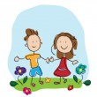 kids holding hands — Stock Vector
