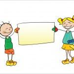 Kids Holding Cartoon — Stock Vector #8884021