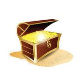 Treasure Full of Gold Illustration — Stock Vector